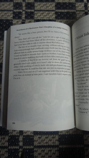 Eine Ansicht vom Inneren des ersten Bandes von Ascendance of a Bookworm.