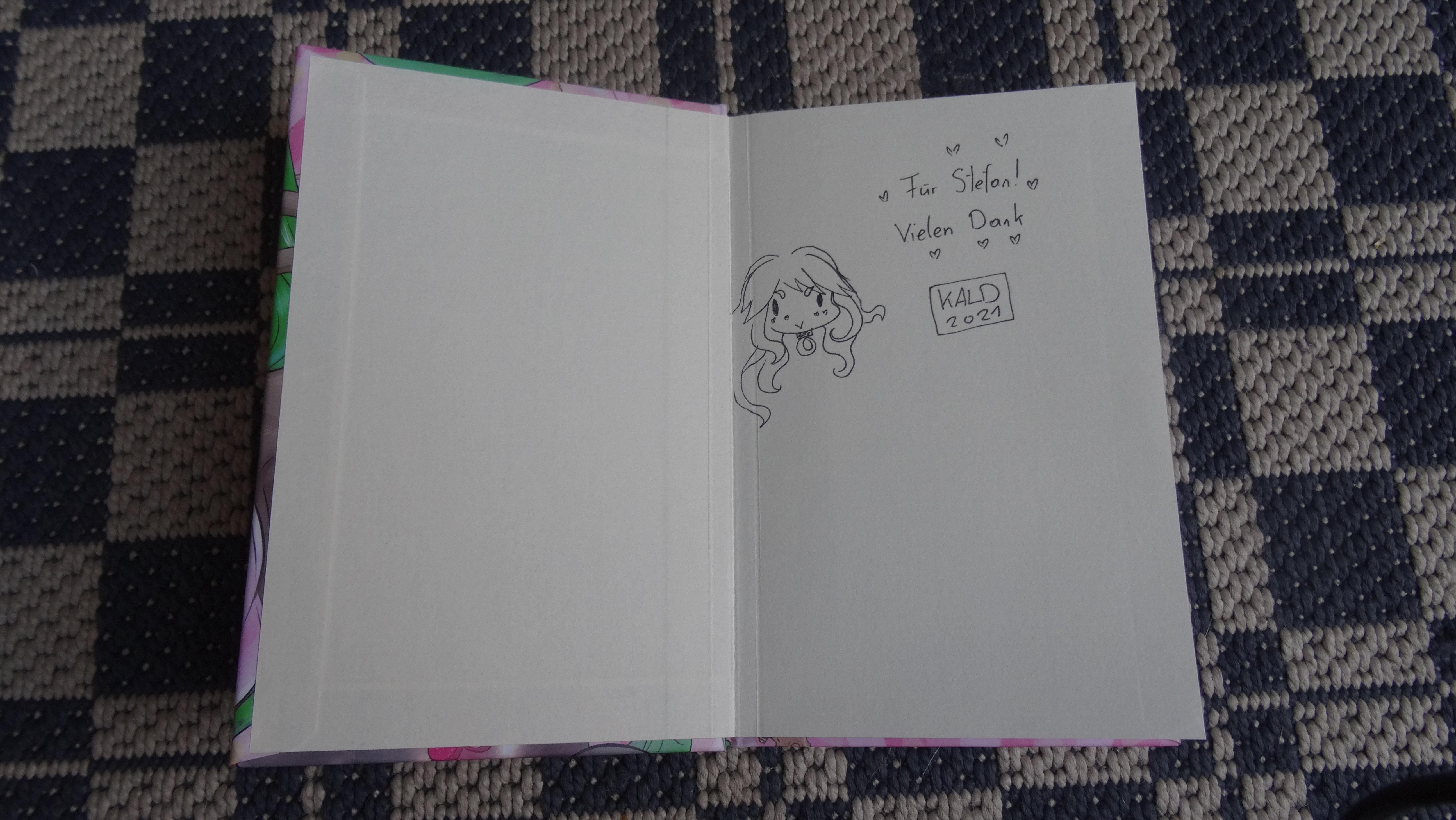Isekai-Light-Novel Girlem: Wiedergeboren als Golem!? Monsterfriseurin in einer anderen Welt! Autogramm der Autorin im Innenteil