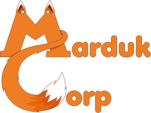 "Das Logo der Firma Marduk Corp. Man sieht den Schriftzug ""Marduk Corp"" der als Fuchs stilisiert dargestellt wird"