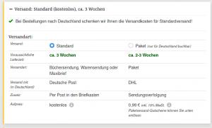 bei einer Lieferung von eine Buch lässt einen buch7 zwischen einer Warensendung und einem Paket (Aufpres 0,99€) wählen