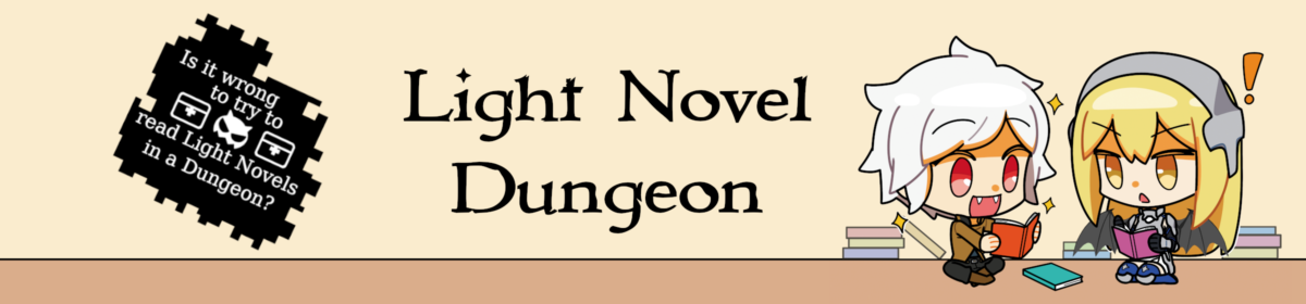 Logo des Light Novel Dungeons. Rechts sind Chibi Aiz und Bell und links ein Logo mit der Aufschrift 'Is it wrong to try to read Light Novels in a Dungeon?'