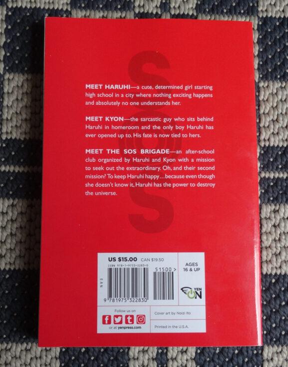 Ein Blick auf die Rückseite des Reprints von The Melancholy of Haruhi Suzumiya
