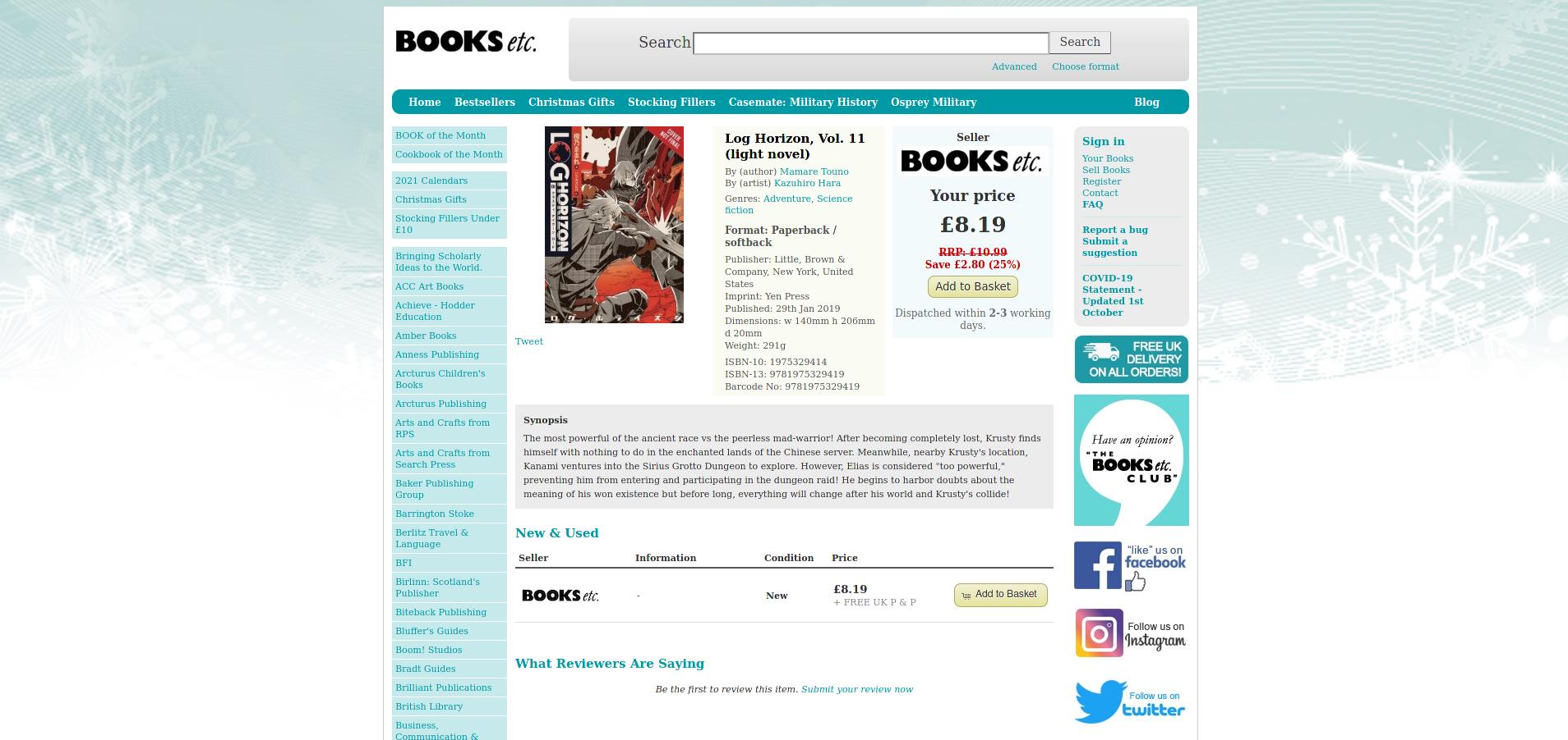 Ein screenshot aus dem Shop von Books etc. Hier zu sehen Log Horizon Band 11.